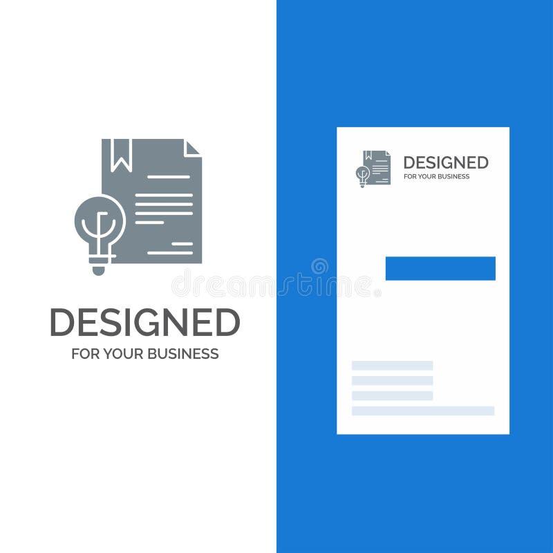 Zaken, Copyright, Digitaal, Uitvinding, Wet Grey Logo Design en Visitekaartjemalplaatje royalty-vrije illustratie