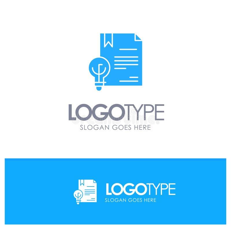 Zaken, Copyright, Digitaal, Uitvinding, Wets Blauw Stevig Embleem met plaats voor tagline stock illustratie