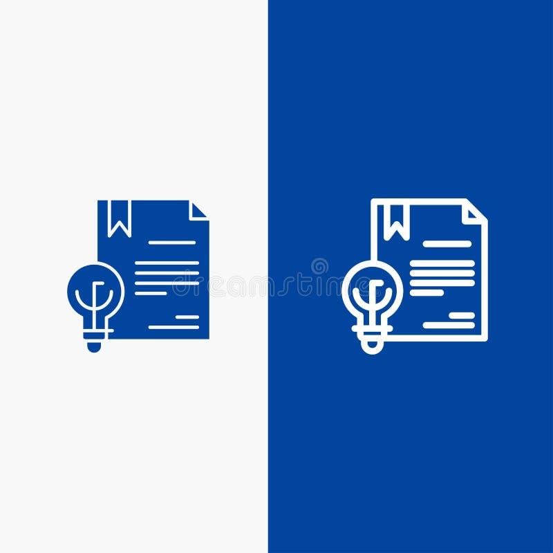 Zaken, Copyright, Digitaal, Uitvinding, Wetslijn en Lijn van de het pictogram Blauwe banner van Glyph de Stevige en Stevige het p stock illustratie