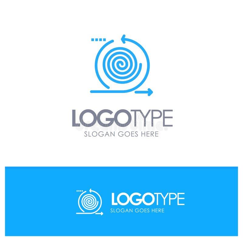 Zaken, Cycli, Herhaling, Beheer, Embleem van het Product het Blauwe overzicht met plaats voor tagline vector illustratie