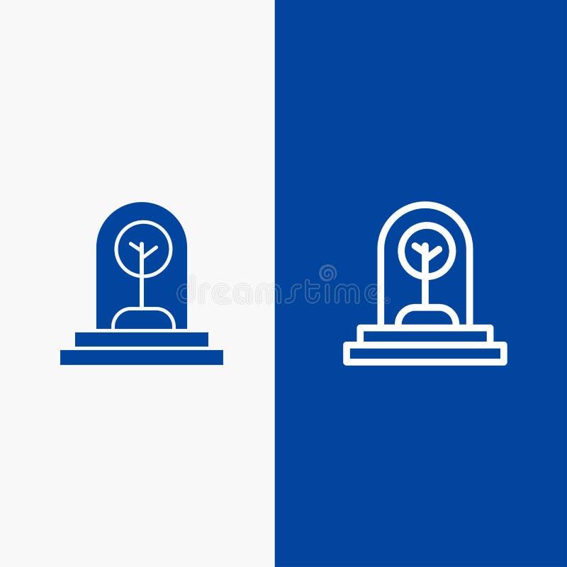 Zaken, de Groei, Nieuw, Installatie, Boomlijn en Lijn van de het pictogram Blauwe banner van Glyph de Stevige en Stevige het pict vector illustratie