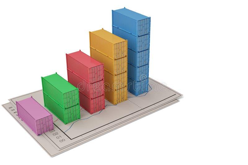 Zaken die creatieve concept het groeien containersgrafiek uitwisselen 3 vector illustratie