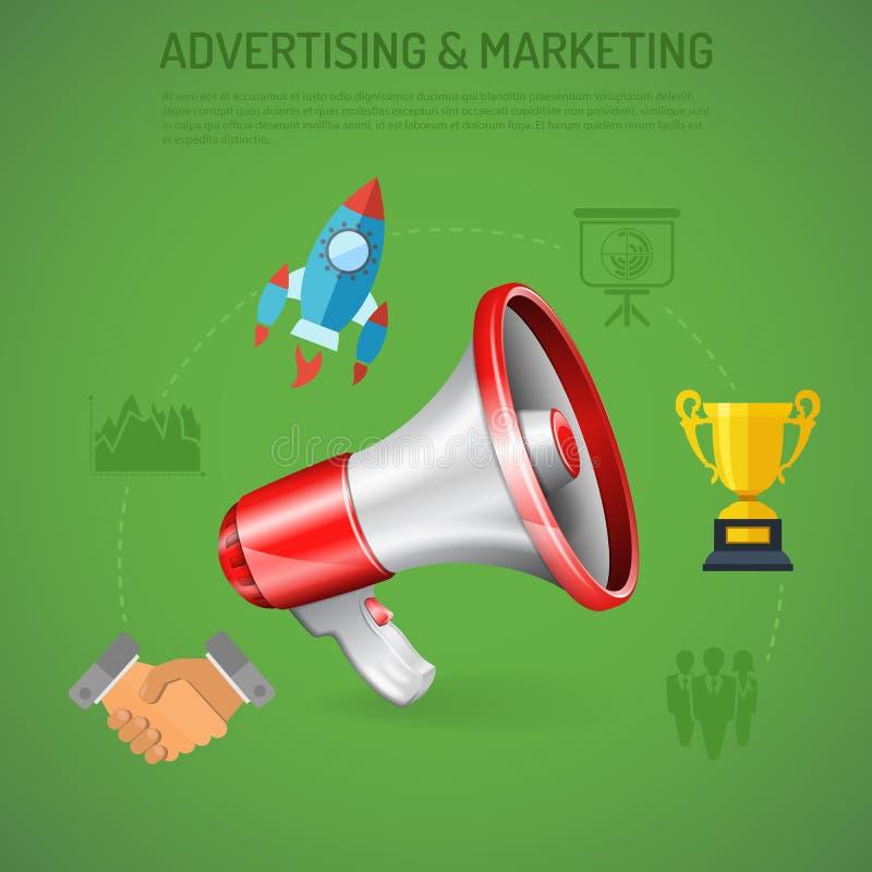 Zaken die & Marketing Affiche adverteren vector illustratie