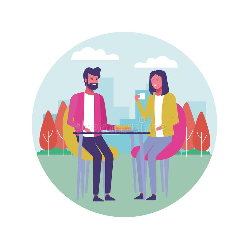 Zaken die in openlucht coworking royalty-vrije illustratie
