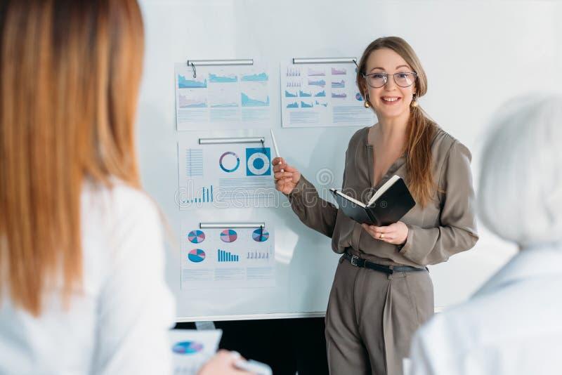 Zaken die slimme vrouwelijke werknemers trainen stock foto