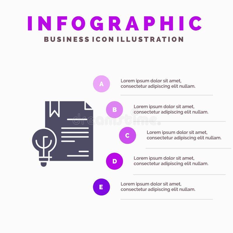 Zaken, Digitaal Copyright, Uitvinding, Wets Stevig Pictogram Infographics 5 de Achtergrond van de Stappenpresentatie royalty-vrije illustratie