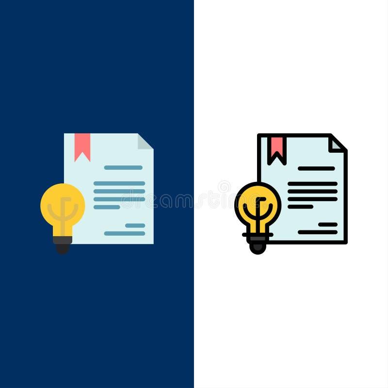 Zaken, Digitaal Copyright, Uitvinding, Wetspictogrammen Vlak en Lijn vulde Pictogram Vastgestelde Vector Blauwe Achtergrond royalty-vrije illustratie