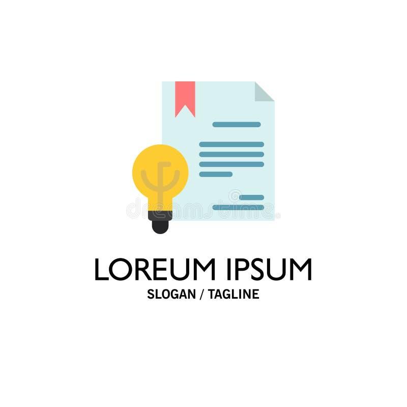 Zaken, Digitaal Copyright, Uitvinding, Wetszaken Logo Template vlakke kleur stock illustratie