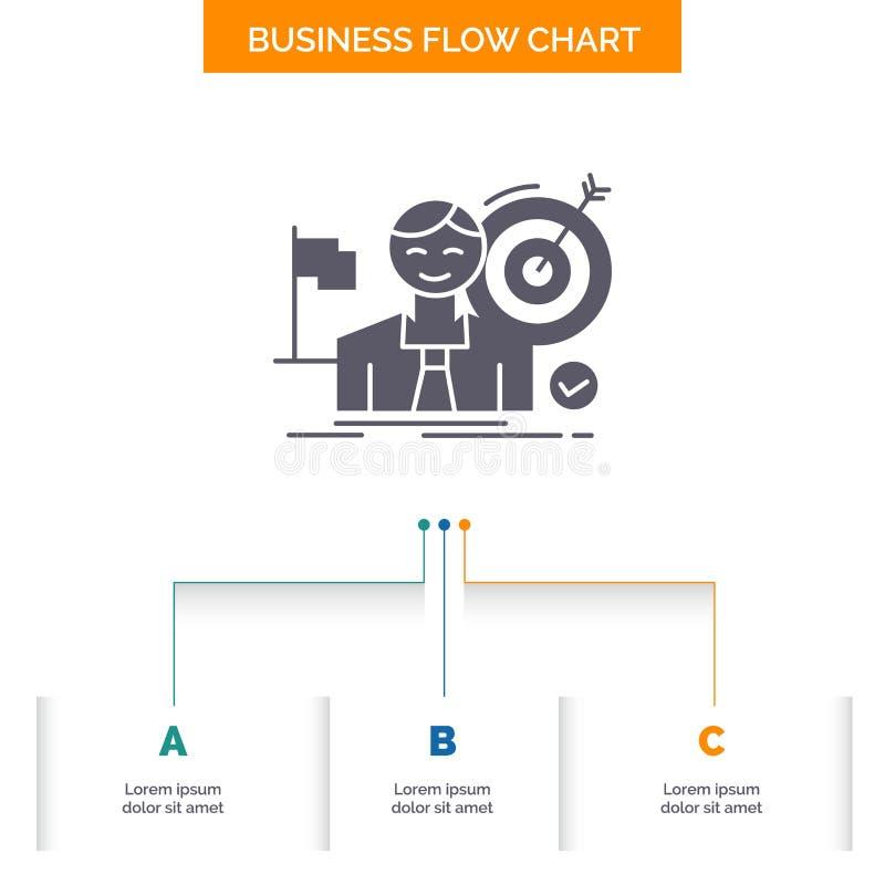 zaken, doel, klap, markt, het Ontwerp succes van de Bedrijfsstroomgrafiek met 3 Stappen Glyphpictogram voor Presentatie Achtergro royalty-vrije illustratie