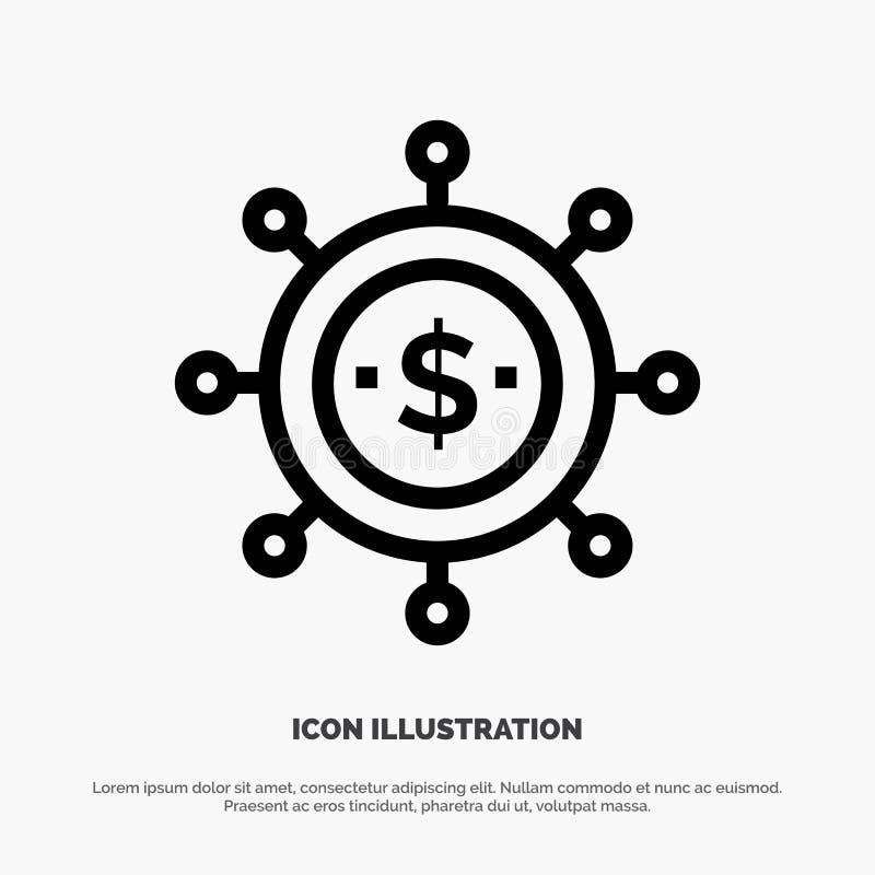 Zaken, Economie, de Globale, Moderne Vector van het Lijnpictogram vector illustratie