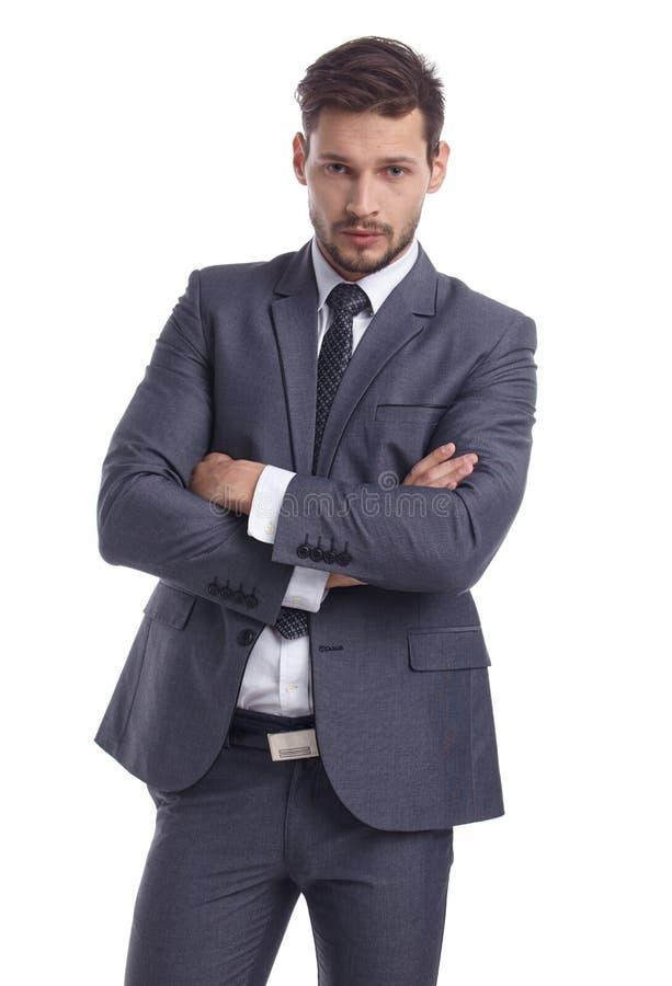 Zaken en bureauconcept - zakenman in kostuum royalty-vrije stock foto's