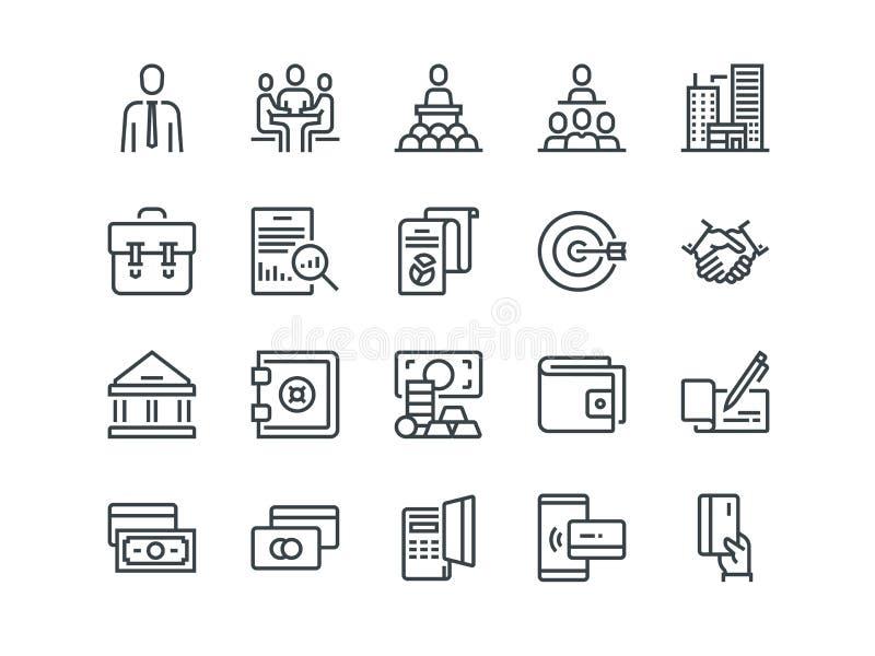 Zaken en Financiën Reeks overzichts vectorpictogrammen Omvat zoals Groepswerk, Bank, Betaling en andere Editableslag royalty-vrije illustratie