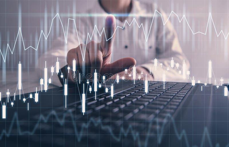 Zaken en financieel concept Schaal op financiële grafiek investering stock afbeeldingen