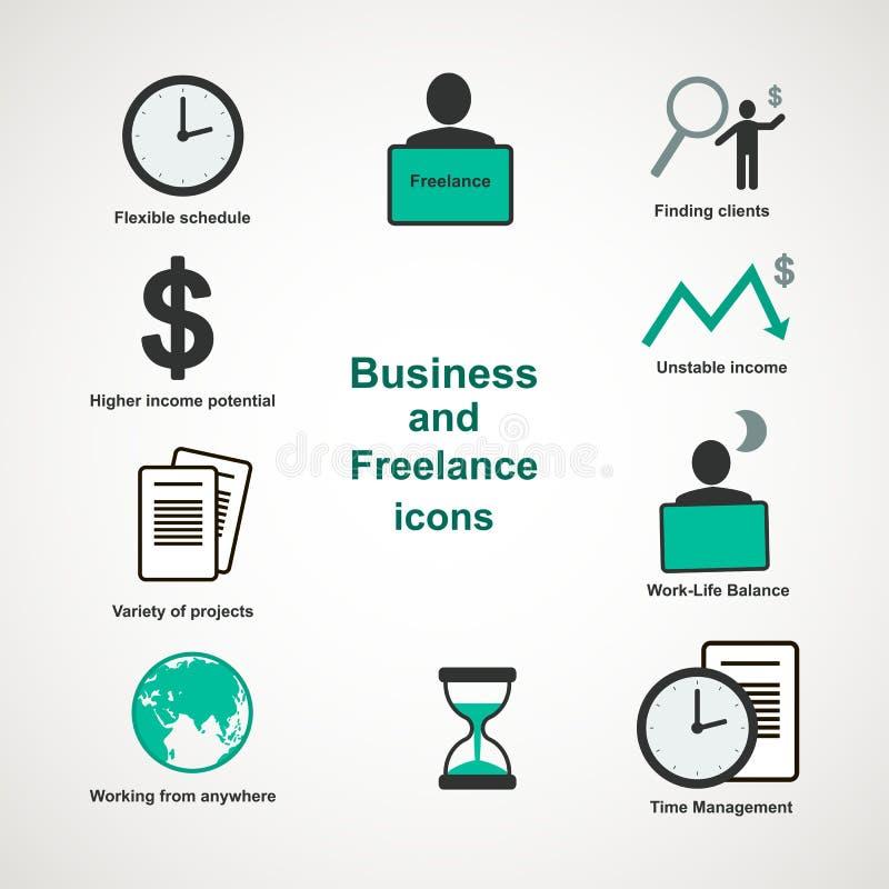 Zaken en freelance pictogrammen stock illustratie