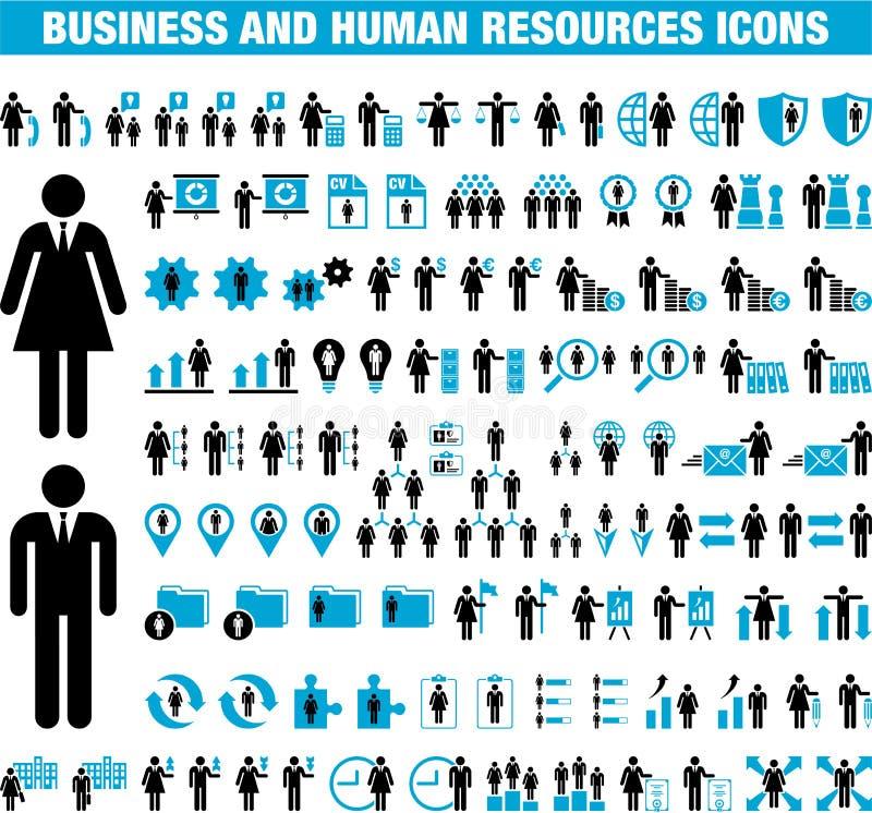 Zaken en Menselijke Middelpictogrammen royalty-vrije illustratie