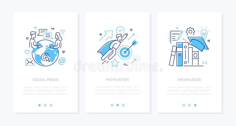 Zaken en onderwijs - reeks banners van het de stijl verticale Web van het lijnontwerp stock illustratie