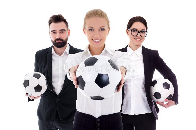 Zaken en sportconcept - jonge bedrijfsdiemensen met voetbalballen op wit worden geïsoleerd royalty-vrije stock afbeelding
