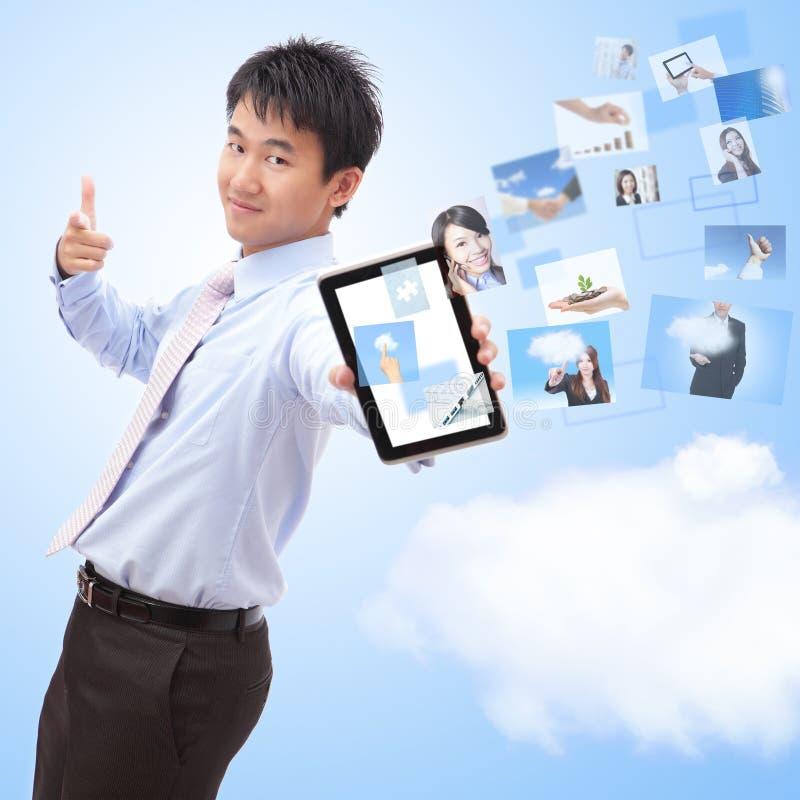 Zaken en wolk gegevensverwerkingsconcept royalty-vrije stock foto's