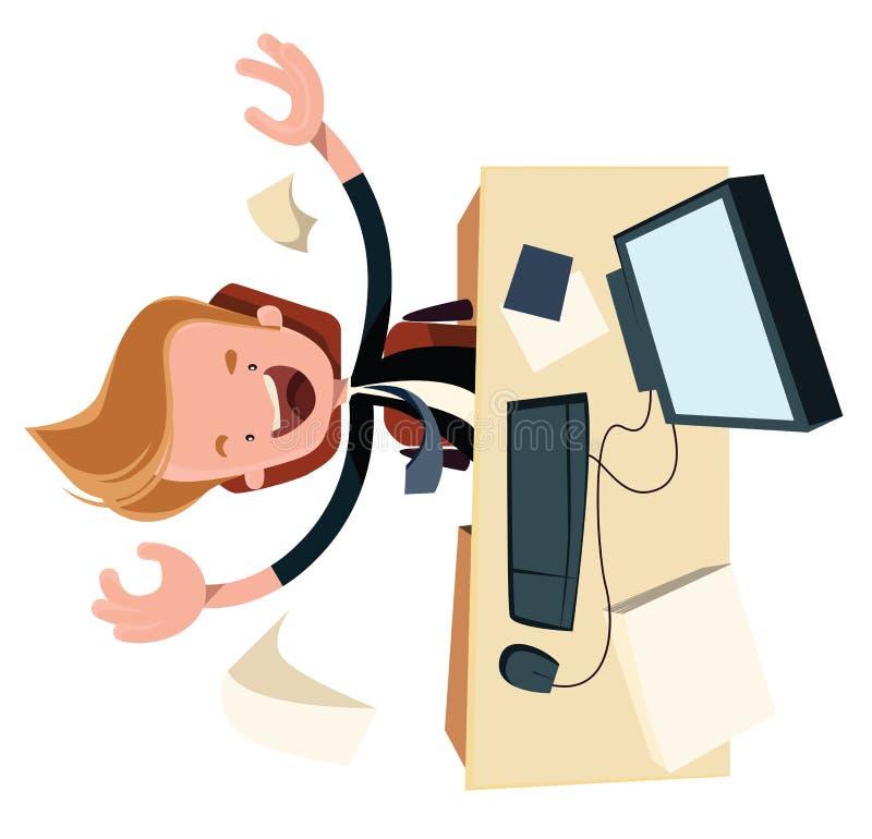 Zaken enthysiasm bij het karakter van het de illustratiebeeldverhaal van het het werkbureau vector illustratie