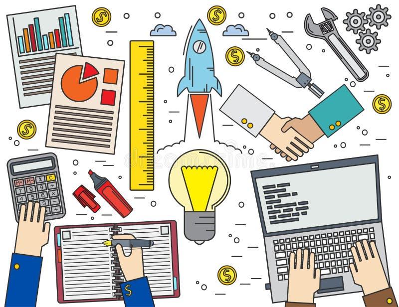 Zaken, financiën, beheer, het teamwerk, analyse, strategie en stock illustratie