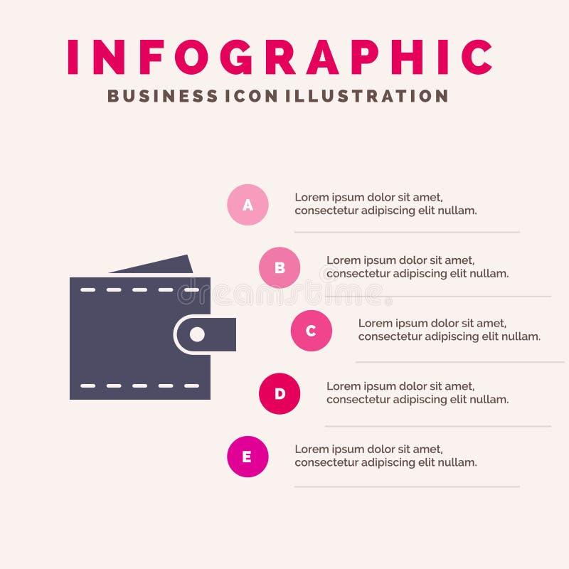 Zaken, Financiën, Interface, Gebruiker, Portefeuille Stevig Pictogram Infographics 5 de Achtergrond van de Stappenpresentatie stock illustratie