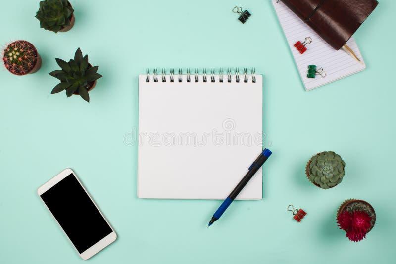 Zaken flatlay met notitieboekje met blanco pagina, pen, smartphone, succulents en cactussen en andere bedrijfstoebehoren stock afbeelding