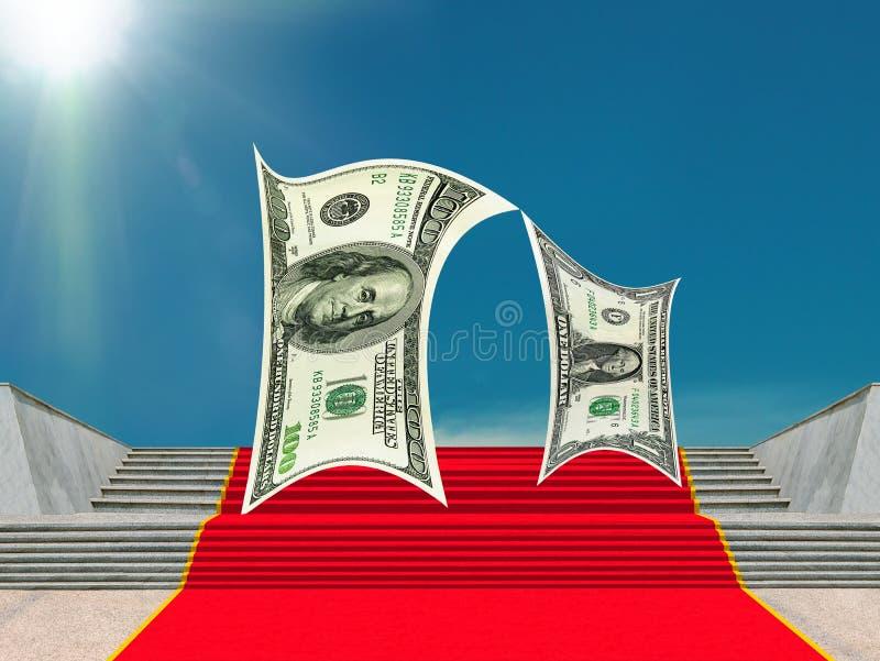 Zaken, geld-karakters, rood tapijt van succes