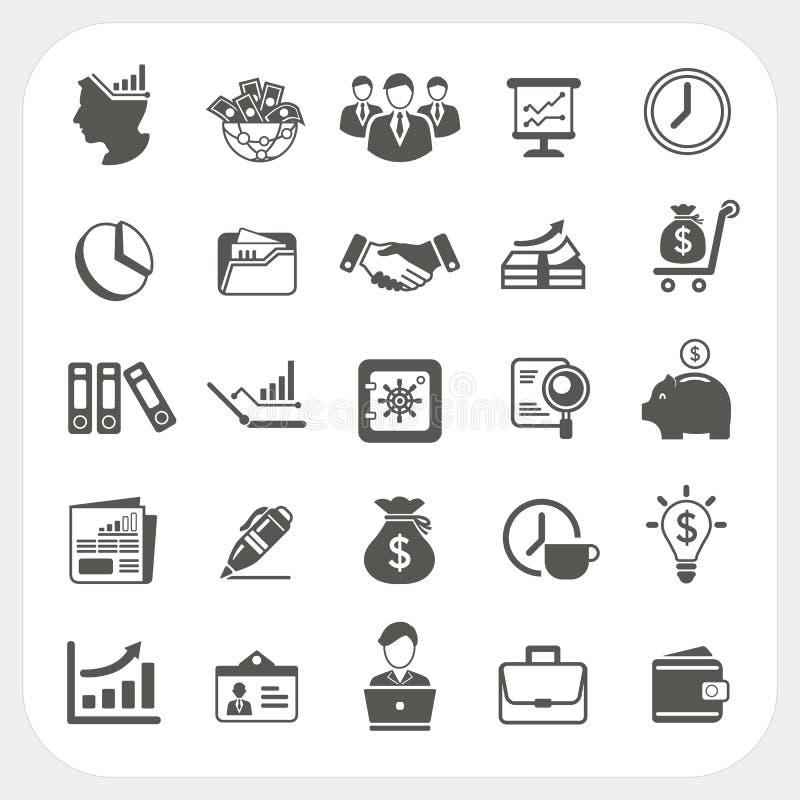 Zaken, geplaatste financiënpictogrammen stock illustratie