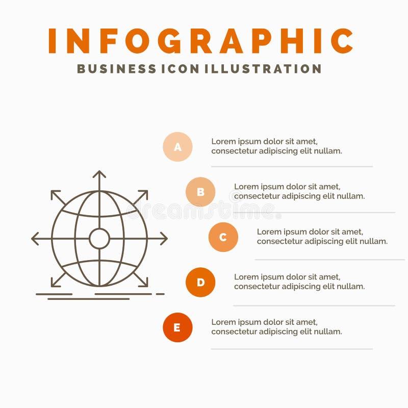 zaken, globaal, internationaal, netwerk, het Malplaatje van Webinfographics voor Website en Presentatie Lijn Grijs pictogram met  stock illustratie