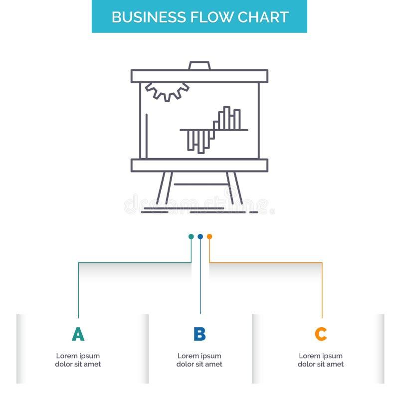 Zaken, grafiek, gegevens, grafiek, stats het Ontwerp van de Bedrijfsstroomgrafiek met 3 Stappen r vector illustratie