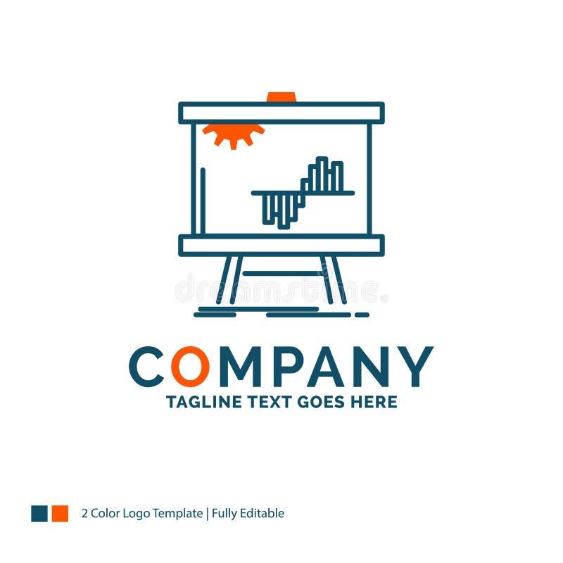 Zaken, grafiek, gegevens, grafiek, stats Logo Design Blauw en Sinaasappel vector illustratie