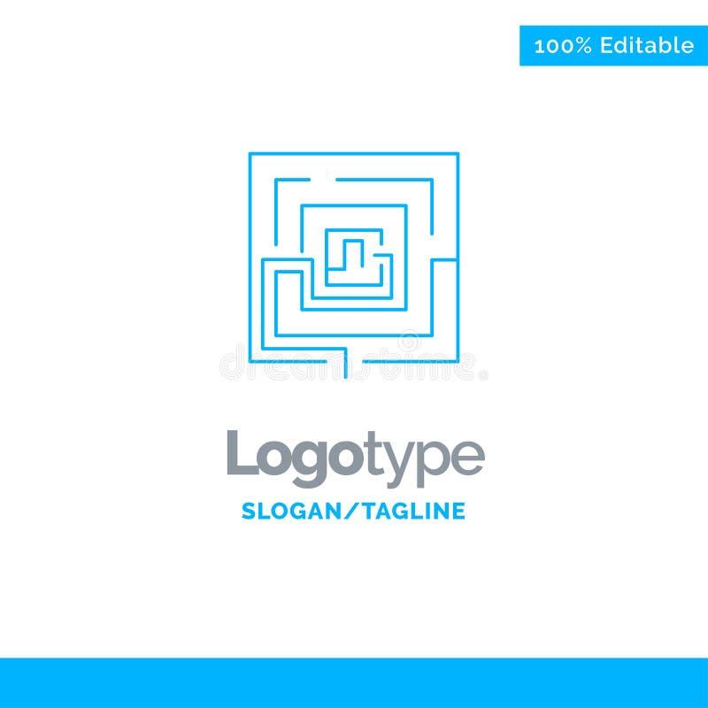 Zaken, Idee, Relevante Marketing, Raadsel Blauw Stevig Logo Template Plaats voor Tagline vector illustratie