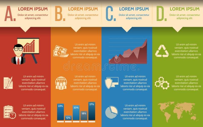 Zaken Infographic geleidelijke malplaatje of plaatsbanner met geïntegreerde pictogrammen royalty-vrije illustratie