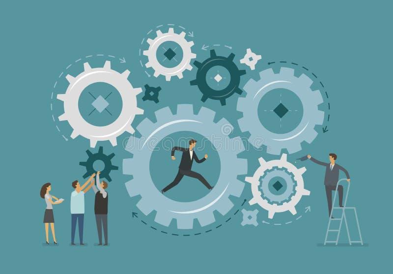 Zaken Infographic Groepswerk, samenwerking, het werkconcept Vector illustratie stock illustratie