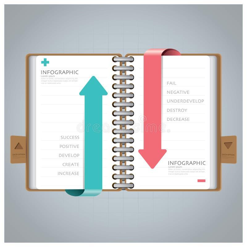 Zaken Infographic met Ring Notebook Arrow Bookmark Diagram royalty-vrije illustratie