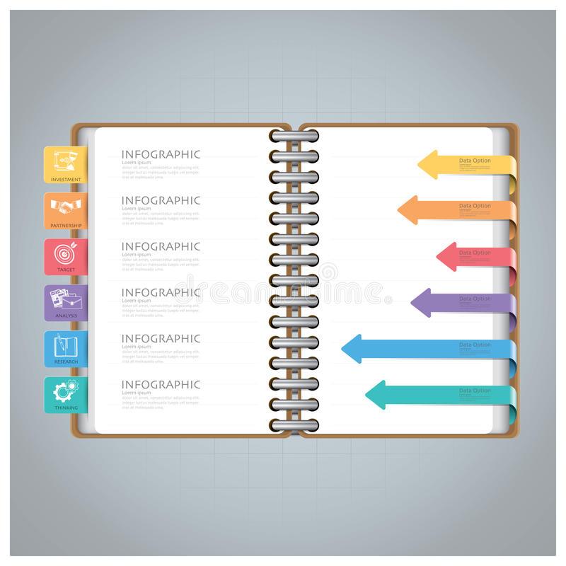 Zaken Infographic met Ring Notebook Arrow Bookmark Diagram stock illustratie