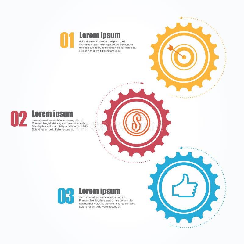 Zaken Infographics Chronologie met 3 stappen, toestellen, tandraderen vector illustratie