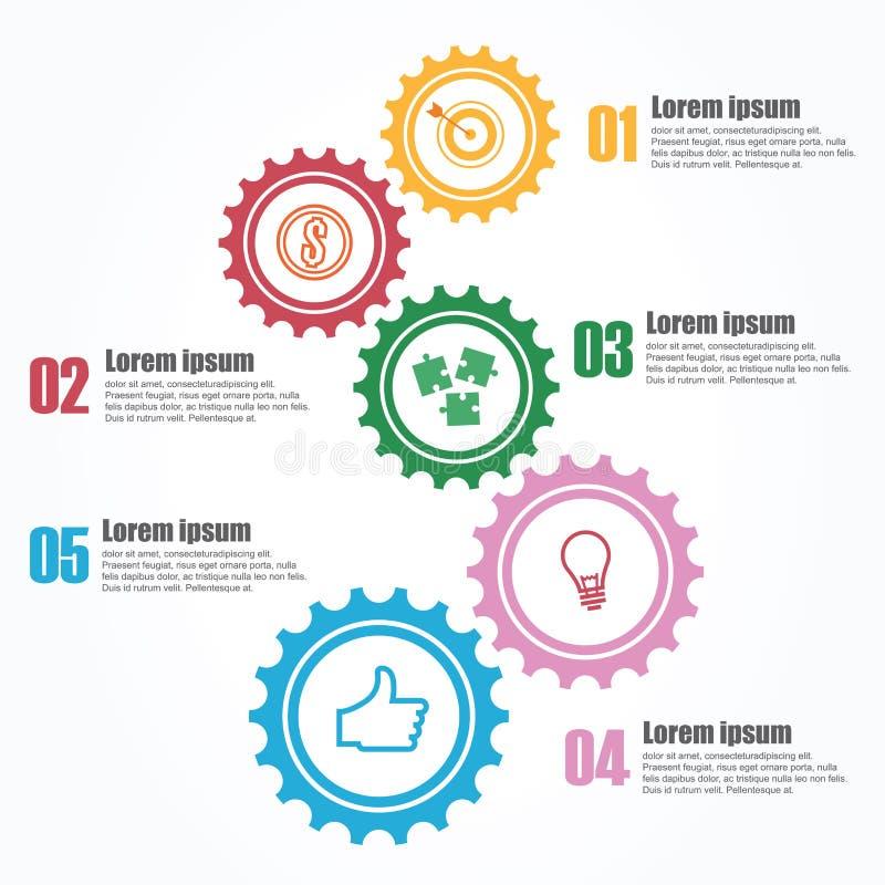 Zaken Infographics Chronologie met 5 stappen, toestellen, tandraderen royalty-vrije illustratie