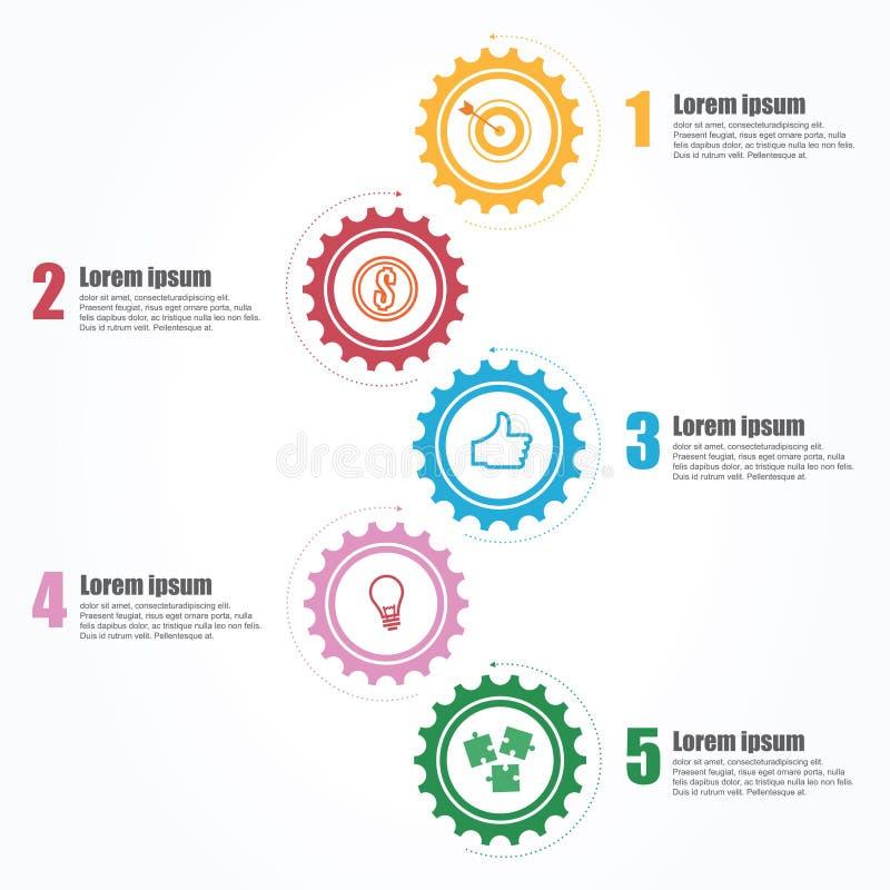 Zaken Infographics Chronologie met 5 stappen, toestellen, tandraderen vector illustratie