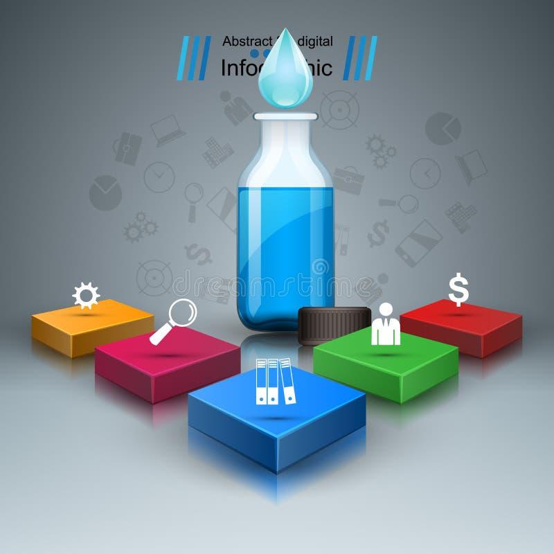 Zaken Infographics Geneeskundeflessen, Receptenpictogram vector illustratie