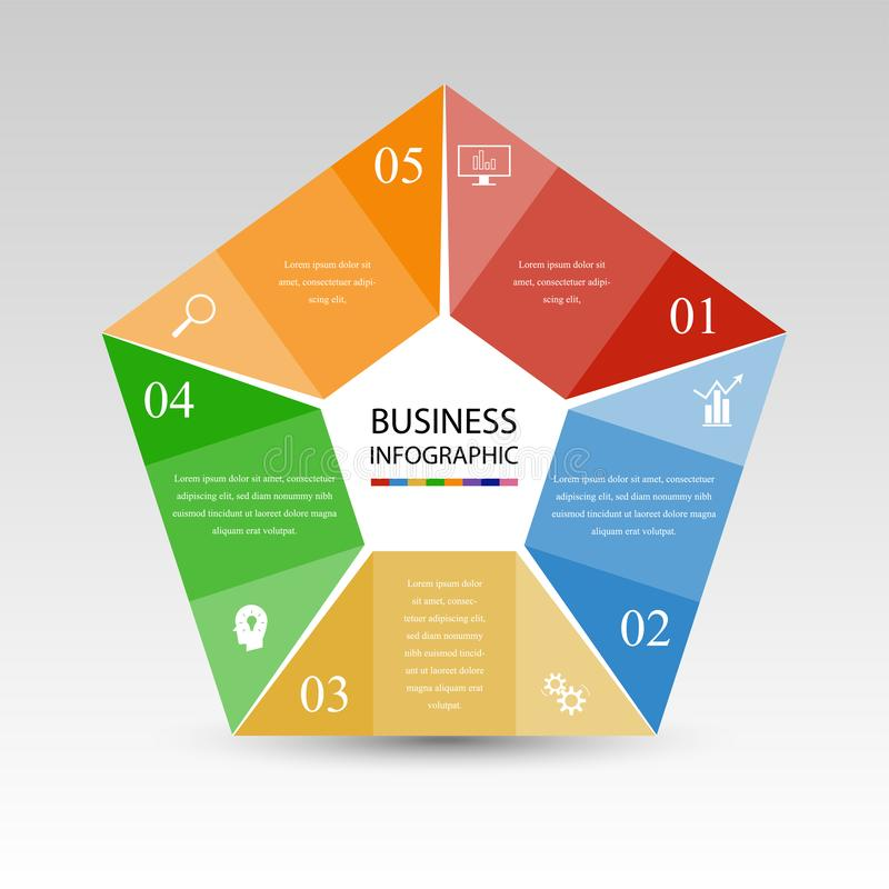 Zaken InfoGraphics, Meetkunde, Pentagoonontwerp, Marketing presentatie, sectiebanner stock illustratie