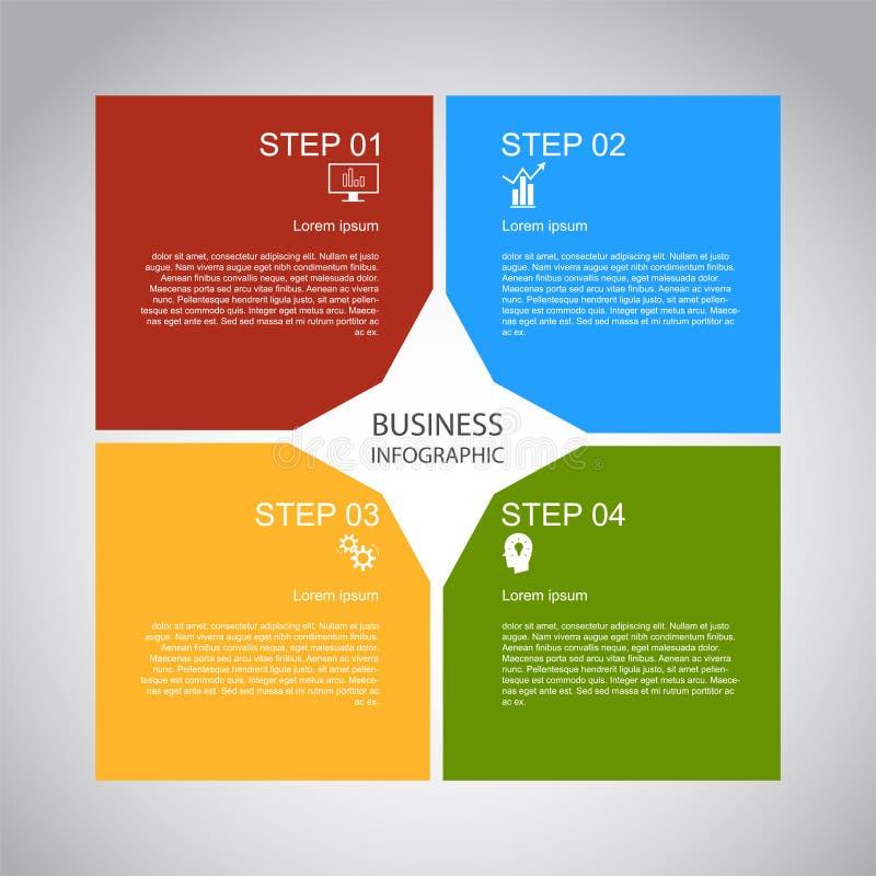 Zaken InfoGraphics, Meetkunde, Vierkant Ontwerp, Marketing presentatie, sectiebanner royalty-vrije illustratie