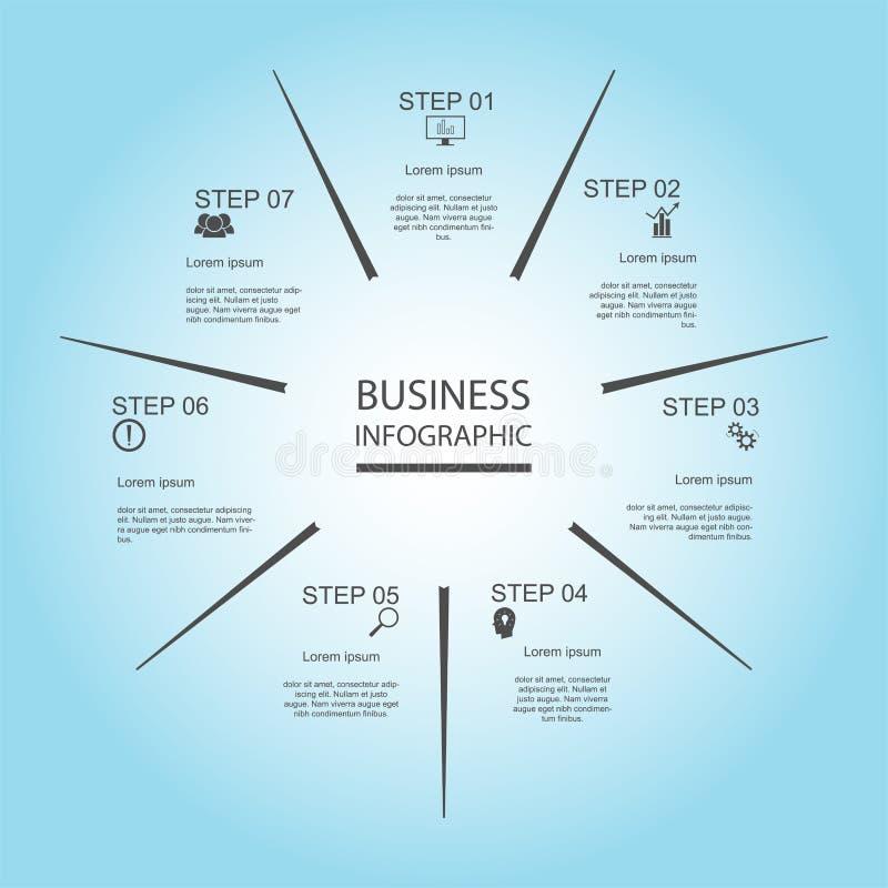 Zaken InfoGraphics, Meetkunde, Zevenhoekontwerp, Marketing presentatie, sectiebanner stock illustratie