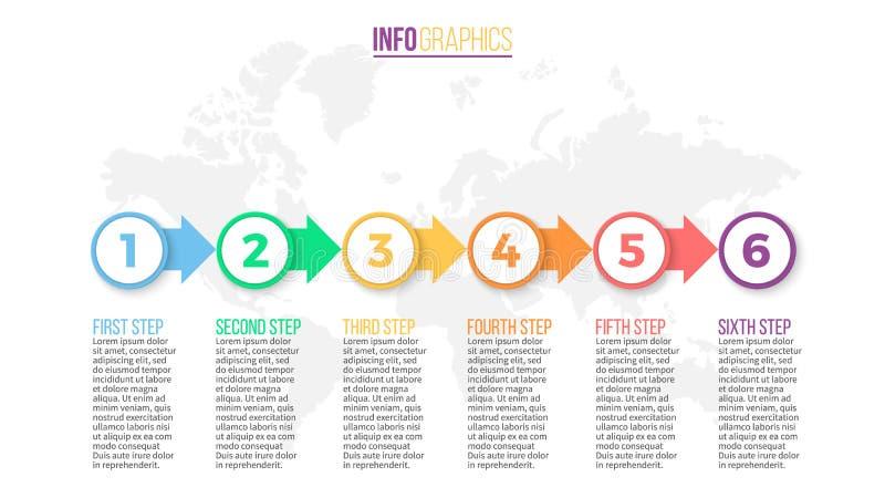 Zaken Infographics Presentatiedia, grafiek, diagram met 6 stappen, cirkels vector illustratie