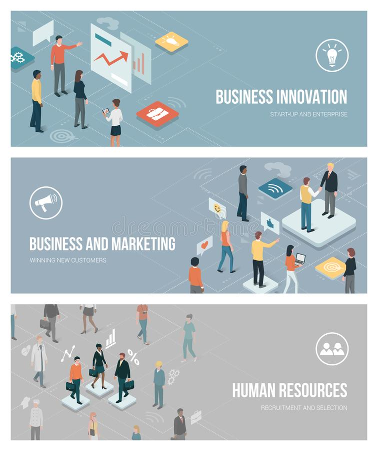 Zaken, marketing en personeel vector illustratie