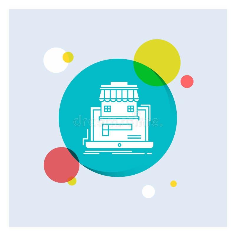 zaken, markt, organisatie, gegevens, de online Achtergrond van de het Pictogram kleurrijke Cirkel van markt Witte Glyph vector illustratie