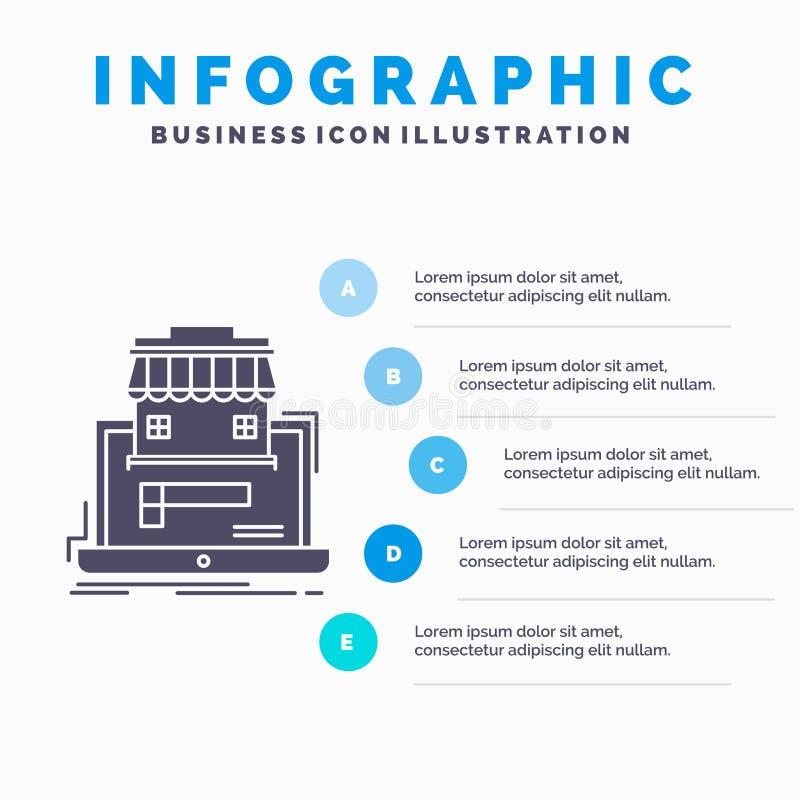 zaken, markt, organisatie, gegevens, het online Malplaatje van marktinfographics voor Website en Presentatie GLyph Grijs pictogra stock illustratie