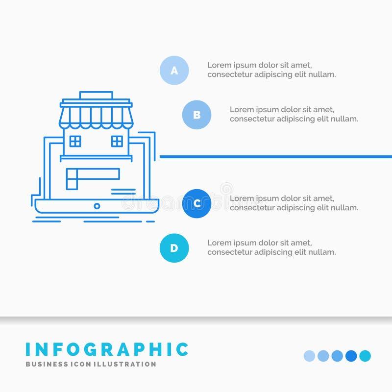 zaken, markt, organisatie, gegevens, het online Malplaatje van marktinfographics voor Website en Presentatie Lijn Blauw pictogram vector illustratie
