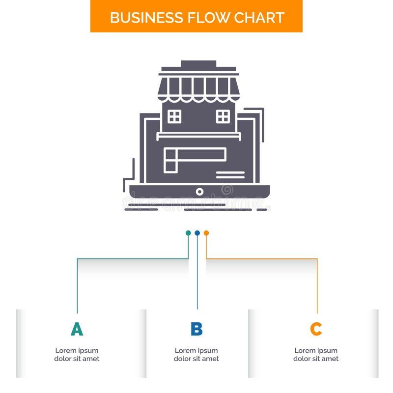 zaken, markt, organisatie, gegevens, het online Ontwerp markt van de Bedrijfsstroomgrafiek met 3 Stappen Glyphpictogram voor Pres royalty-vrije illustratie
