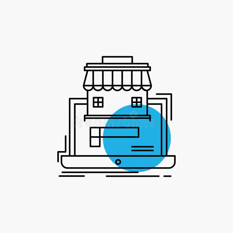 zaken, markt, organisatie, gegevens, het online Pictogram van de marktlijn royalty-vrije illustratie